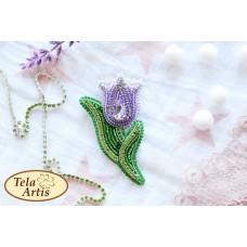 Bead Art Brooch Kit - Lilac Tulip