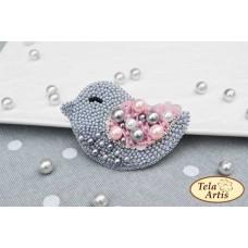 Bead Art Brooch Kit - Grey Bird