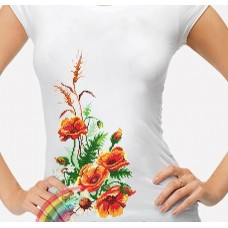Bead Art T-Shirt Kit - Orange Poppies
