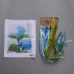 3D Blue Flower Pattern, Oxford Silk Ribbon Kit