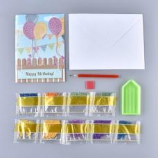 Rhinestone Art - Balloon Bunting Birthday Card
