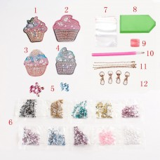 Rhinestone Art Kit - Cupcake Keyrings