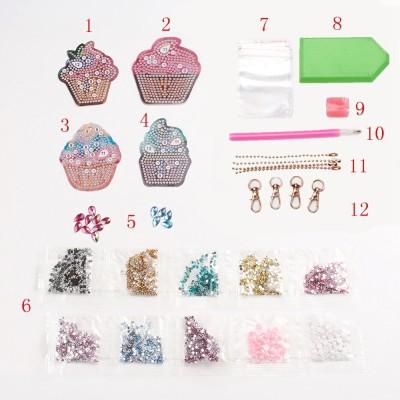Rhinestone Art Kit - Cupcake Keyrings