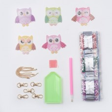 Rhinestone Art Kit - Owl Key Rings