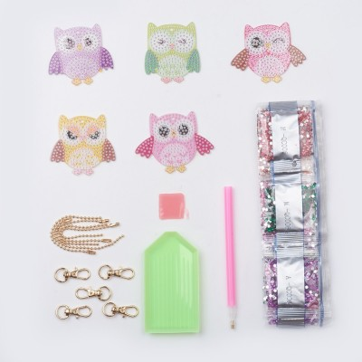 Rhinestone Art Kit - Owl Key Rings